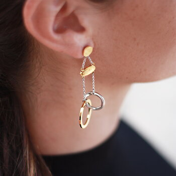 Connected Earrings, Steel / Gold