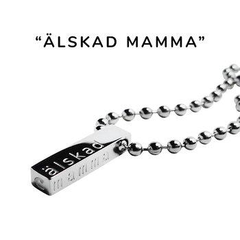 """Nätt halsband m. text """"älskad mamma"""", stål, Valfri längd"""
