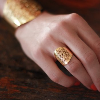 Mandala Adjustable Ring, gold