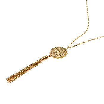 Mandala Necklace mini tassel long, Gold
