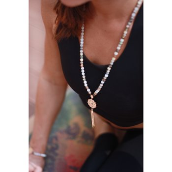 Mala necklace, Bamboo Agate, Rose Gold