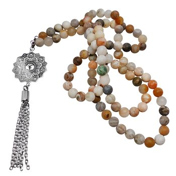Mala necklace, Bamboo Agate, Steel