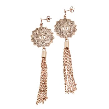 Mandala Earrings mini tassel, Rose Gold