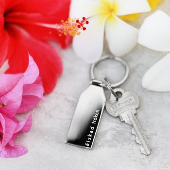 """Exklusiv nyckelring med text """"älskad fröken"""", stål"""