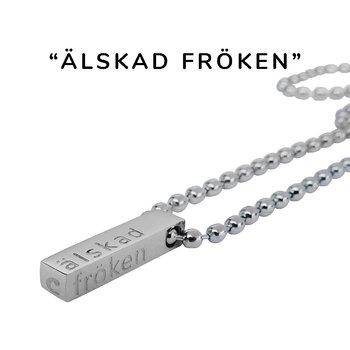 """Nätt halsband m. text """"älskad fröken"""", stål, Valfri längd"""
