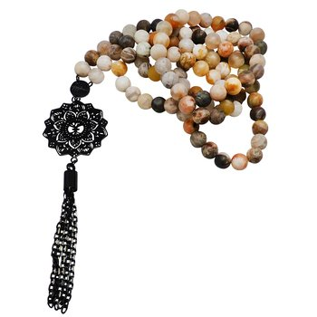 Mala necklace, Bamboo agate, Black