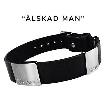 """älskad man"" svart läderarmband, bred"