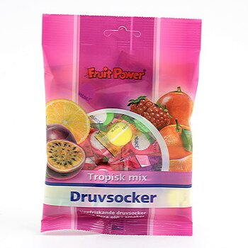Fruit Power Druvsocker Påse Tropisk Mix 75g