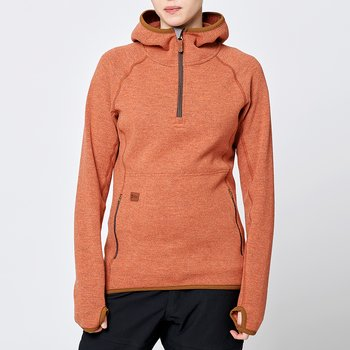 Limited Womens Monk Pullover Wool Hoodie - Rust Orange