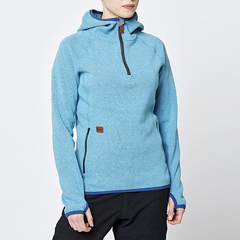 Limited Womens Monk Pullover Wool Hoodie - Ice Blue