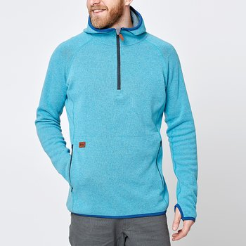 Limited Mens Monk Pullover Wool Hoodie - Ice Blue