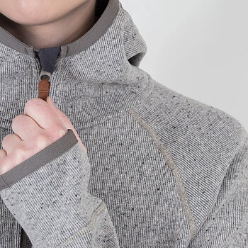Womens Monk Pullover Wool Hoodie - White Currant