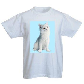 Vinter snö katt Miloo 2 blå bakgrund T - Shirt