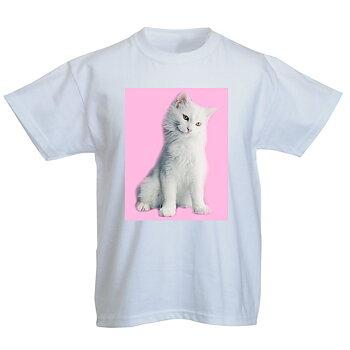 Vinter snö katt Miloo 3 rosa bakgrund T - Shirt