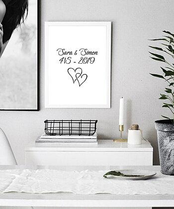 Namn och datum med hjärtan 2 egen design poster