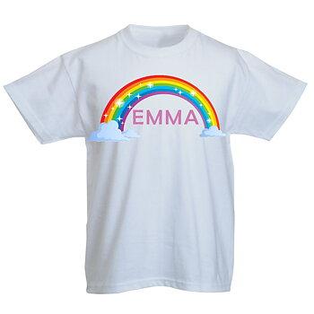 Regnbåge med glitter eget namn egen design - T-Shirt