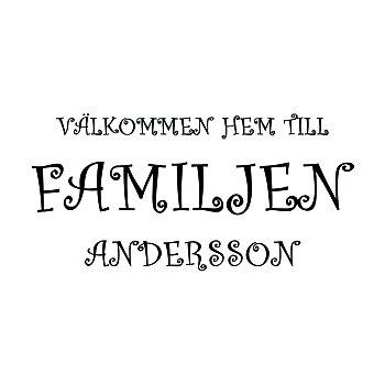 VÄLKOMMEN HEM TILL FAMILJEN 11 - VÄGGTEXT