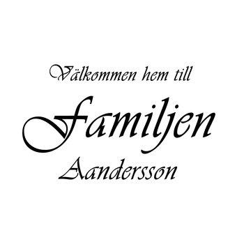 VÄLKOMMEN HEM TILL FAMILJEN 15 - VÄGGTEXT
