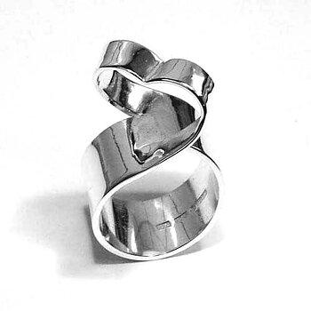 Handsmidd silverring hjärtring