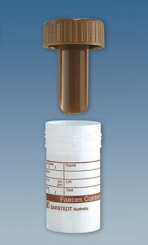 Sarstedt burk PP 25ml avföring sked 55/44mm brunt skruvl etikett osterilt 50st