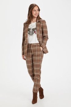 Culture Mandy Cigarette Pants Brown Check