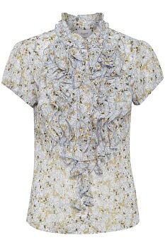 Saint Tropez Ruffle Blouse Ashley Blue Flower