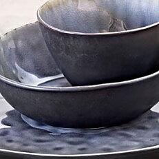 Sopp/pastaskål grå krackelerad
