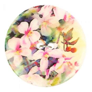 Knapp pärlemor med blommotiv 17,5 mm