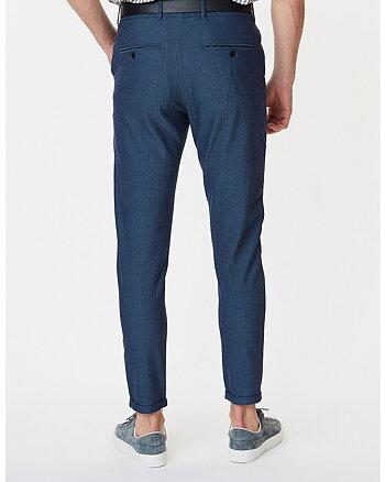 Como Herringbone Marinblå Kostymbyxor