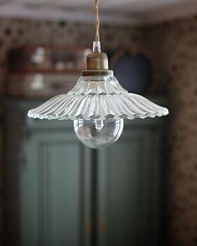 Lampa i glas med textilsladd
