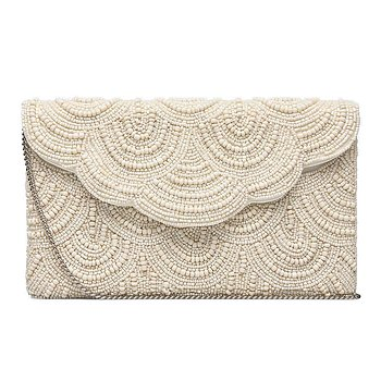 FEMME BEADED CLUTCH CREME