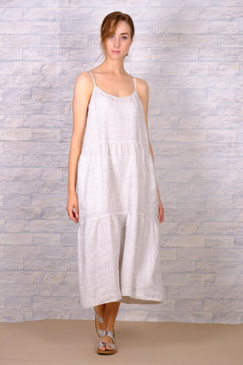 Kosmita  - dress in linen - pin stripes