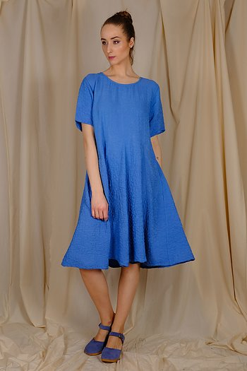 Ocean blue Pura- silk crinkle dress from AureaVita