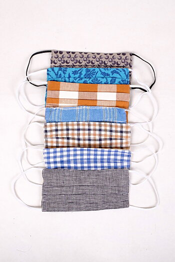 With pocket for filter - Washable , Reusable Linen/Cotton Face Mask - Square type