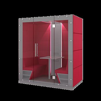Mobilt tyst rum - 4 personer inkl soffgrupp - Glasdörr i front. 210 cm x 126 cm