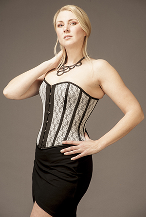 Overbust Black Satin with White Lace