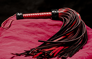 Leather Whip - 72-tailed red/black genuine