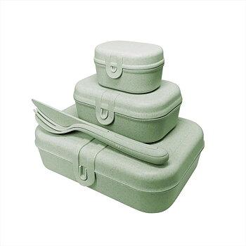 PASCAL READY Set med 3x lunchbox och bestick Organic Green