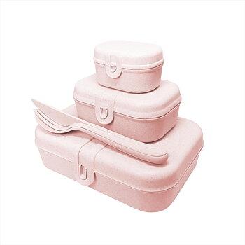 PASCAL READY Set med 3x lunchbox och bestick Organic Pink