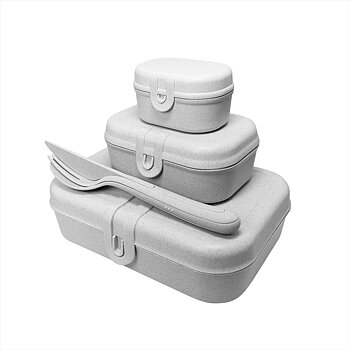PASCAL READY Set med 3x lunchbox och bestick Organic Grey