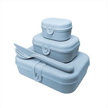 PASCAL READY Set med 3x lunchbox och bestick Organic Blue