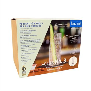 CLUB NO. 3 Longdrinkglas 6-pack 250ml, transparent grå