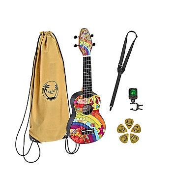 ORTEGA K2-68 Keiki Soprano ukulele-pack, Peace 68