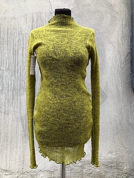 Lång tröja i lättfiltad ull gulgrön
