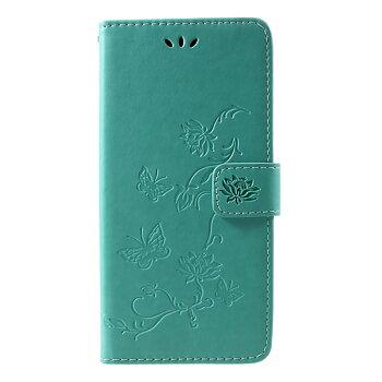 Plånboksfodral med Präglade Fjärilar till Samsung Galaxy J4 Plus 2018 - Grön