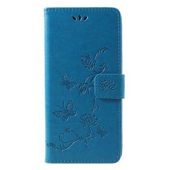 Plånboksfodral med Präglade Fjärilar till Samsung Galaxy J4 Plus 2018 - Blå