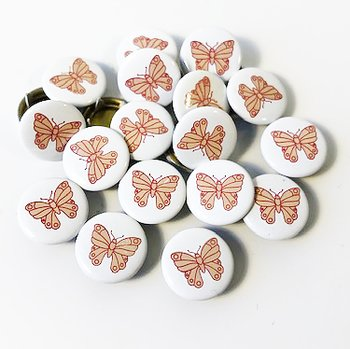 Snap-on button Pink butterfly