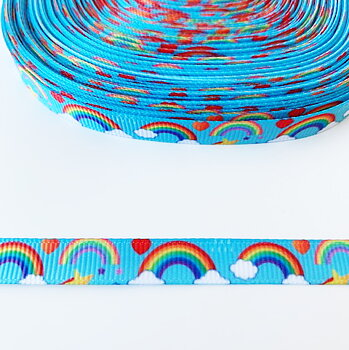 Printed ribbon rainbows 10mm