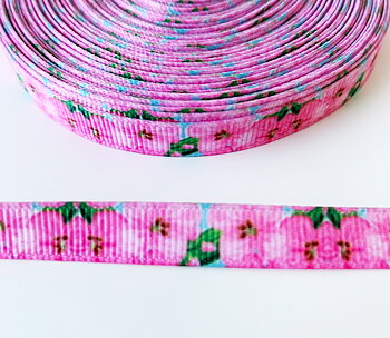 Printed ribbon pink flowers 10mm