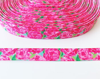 Printed ribbon roses 10mm